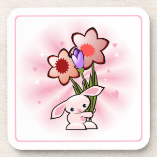Cute Pink Bunny With Flowers Easter Coaster