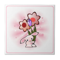 Cute Pink Bunny With Flowers Easter Tile