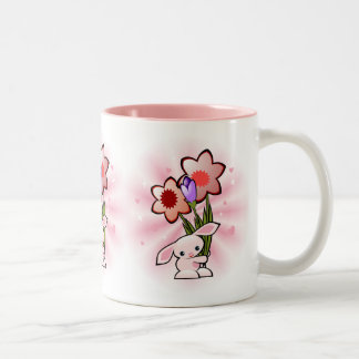 Cute Pink Bunny With Flowers Easter Two-Tone Coffee Mug