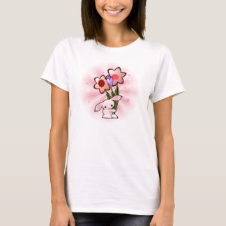 Cute Pink Bunny With Flowers on White T-Shirt