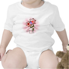 Cute Pink Bunny With Flowers on White shirt