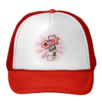Cute Pink Bunny With Flowers Trucker Hat
