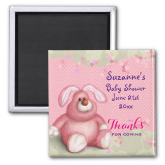 Cute Pink Bunny with Hearts Baby Shower Thank You 2 Inch Square Magnet