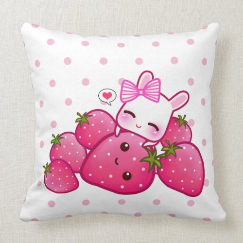 Cute pink bunny with kawaii strawberries throwpillow