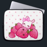 "Cute pink bunny with kawaii strawberries computer sleeve<br><div class=""desc"">Protect your laptop with this super cute and durable sleeve. There&#39;re 3 sizes available for you to choose.  This design features a cute pink bunny with kawaii strawberries on pink polka dots laptop sleeve.</div>"