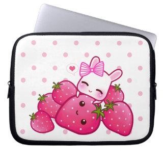 Cute pink bunny with kawaii strawberries laptop sleeves