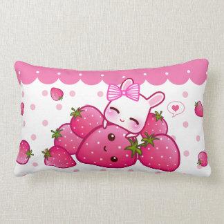 Cute pink bunny with kawaii strawberries lumbar pillow