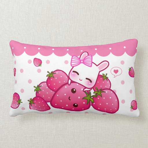 Cute pink bunny with kawaii strawberries lumbar pillow Zazzle