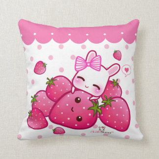 Cute pink bunny with kawaii strawberries throw pillows