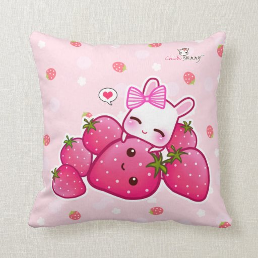Cute pink bunny with kawaii strawberries pillow Zazzle
