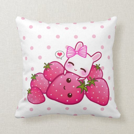 Cute Bunny Pillow : Cute pink bunny with kawaii strawberries pillows Zazzle