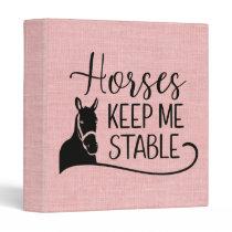 Cute Pink Burlap Equestrian Western Horse 3 Ring Binder