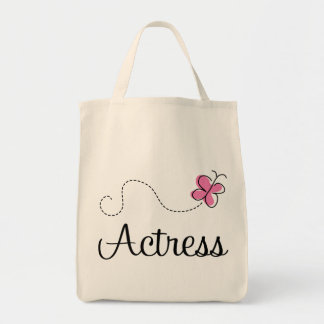 Cute Pink Butterfly Actress Grocery Tote Bag