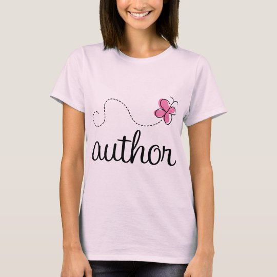 Cute Pink Butterfly Author T-Shirt