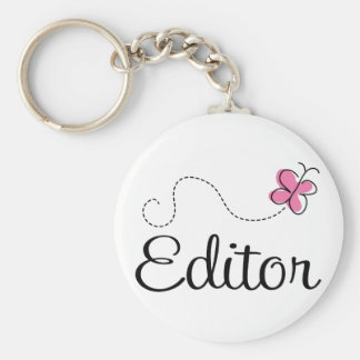 Cute Pink Butterfly Editor Keychain