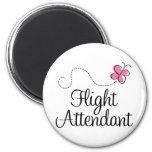Cute Pink Butterfly Flight Attendant Magnet