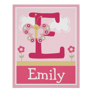 Cute Pink Butterfly Girl Letter Name Wall Poster
