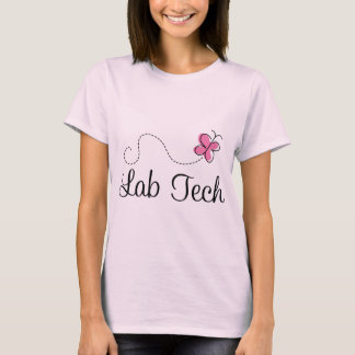 Cute Pink Butterfly Lab Tech T-Shirt