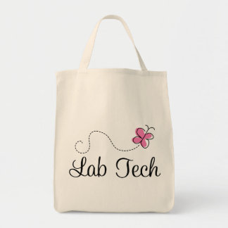 Cute Pink Butterfly Lab Tech Tote Bag