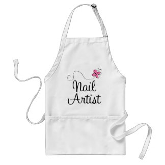 Cute Pink Butterfly Nail Artist Adult Apron