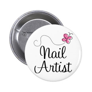 Cute Pink Butterfly Nail Artist 2 Inch Round Button