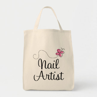 Cute Pink Butterfly Nail Artist Tote Bag