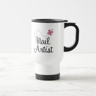 Cute Pink Butterfly Nail Artist Travel Mug