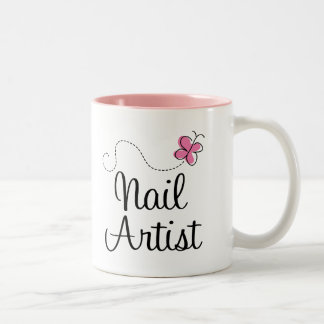 Cute Pink Butterfly Nail Artist Two-Tone Coffee Mug