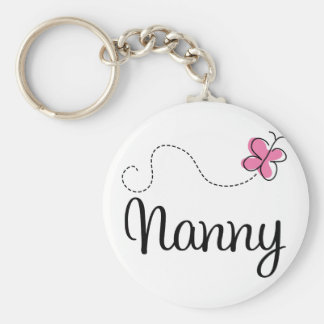 Cute Pink Butterfly Nanny Basic Round Button Keychain