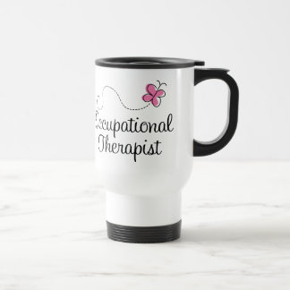 Cute Pink Butterfly Occupational Therapist 15 Oz Stainless Steel Travel Mug