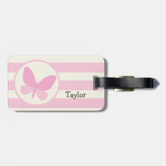 Cute Pink Butterfly on Retro Stripes Luggage Tag