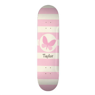 Cute Pink Butterfly on Retro Stripes Skateboard