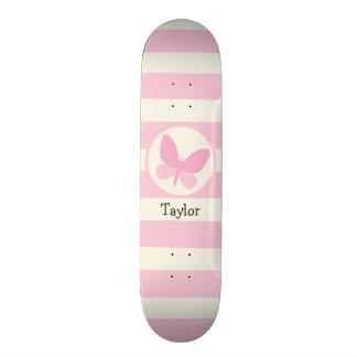 Cute Pink Butterfly on Retro Stripes Skateboard Deck