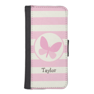 Cute Pink Butterfly on Retro Stripes Wallet Phone Case For iPhone SE/5/5s