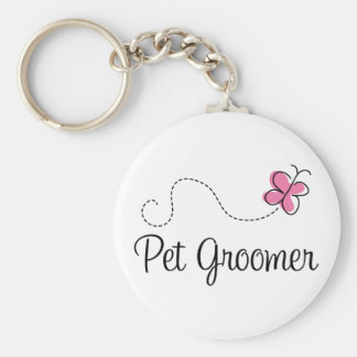 Cute Pink Butterfly Pet Groomer Basic Round Button Keychain