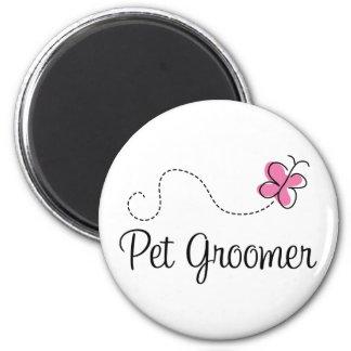 Cute Pink Butterfly Pet Groomer Magnet