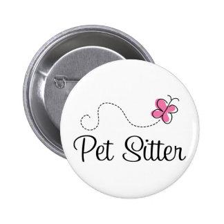 Cute Pink Butterfly Pet Sitter Pinback Buttons