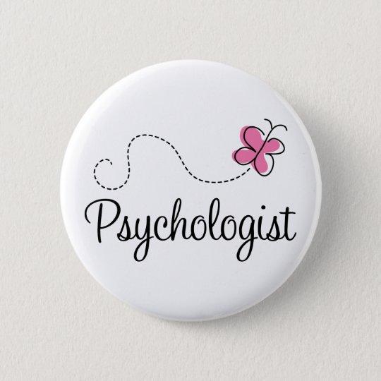 Cute Pink Butterfly Psychologist Button