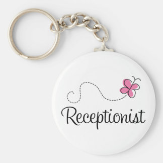 Cute Pink Butterfly Receptionist Basic Round Button Keychain