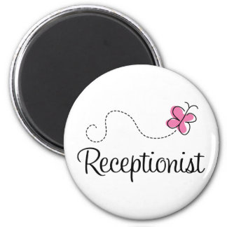 Cute Pink Butterfly Receptionist Refrigerator Magnet