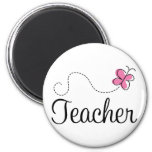 Cute Pink Butterfly Teacher Magnets