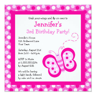 Cute Pink Butterfly w/ Polka Dots Birthday Invite