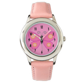 Cute Pink Butterfly with Yellow Dots Girly Design Wristwatch