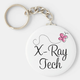 Cute Pink Butterfly X-ray tech Basic Round Button Keychain