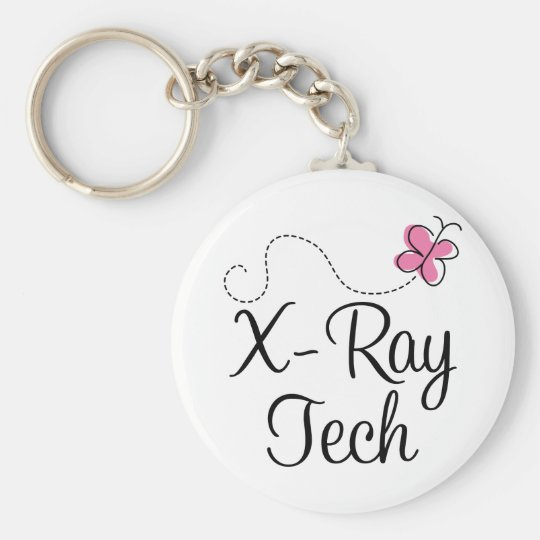 Cute Pink Butterfly X-ray tech Keychain