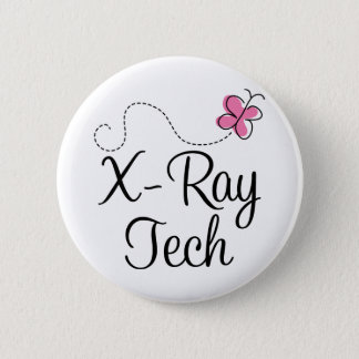 Cute Pink Butterfly X-ray tech Pinback Button