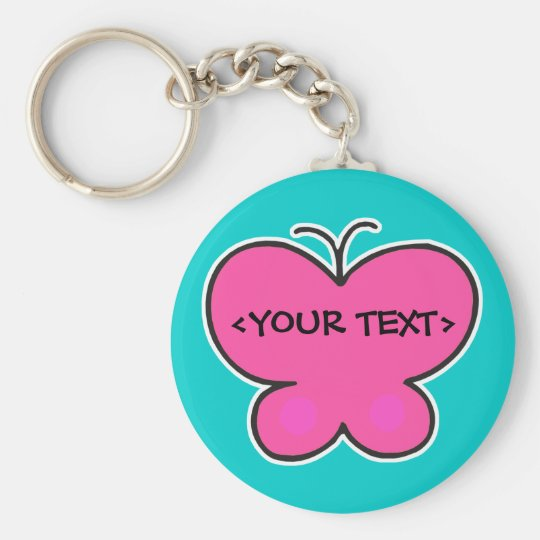 cute pink butterfly, <YOUR TEXT> Keychain
