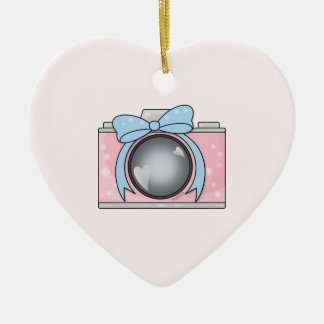 Cute Pink Camera with Blue Bow Double-Sided Heart Ceramic Christmas Ornament