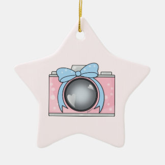 Cute Pink Camera with Blue Bow Double-Sided Star Ceramic Christmas Ornament