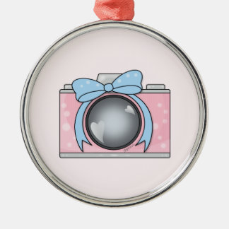 Cute Pink Camera with Blue Bow Round Metal Christmas Ornament
